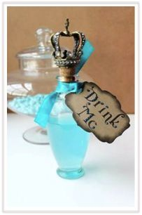 No Alice in Wonderland Party would be complete without bottles labeled with 'Drink Me'