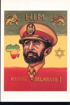 Haile Selassie I Art Rasta, Reggae Rasta, Haile Selassie Quotes, Bob Marley Painting, Rastafari Art, Marcus Black, Cross Art, King Of Kings, African American History