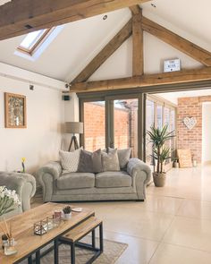 The living room & courtyard in my barn conversion, Staffordshire, UK. - The living room & courtyard in my barn conversion, Staffordshire, UK. Ideal Home, Barn Renovation, Barn Living, House Design, Home Living Room, Barn Conversion Interiors, Home, House Inspiration, House Interior
