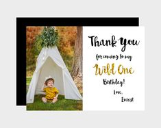 "Thank You For Coming To My Wild One Birthday. PRINTABLE Thank You Card. Where The Wild Things Are Thank You Card. Wild One Thank You. 5x7""."
