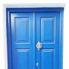 Bright blue door a building in Mykonos town, Greece.. #mykonos #greece #architecture #travel #greek #blue #mediterranian #town #doorway