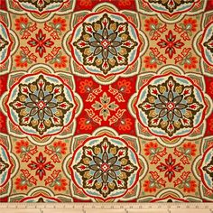 Waverly Tapestry Tile Clay from @fabricdotcom  Screen printed on cotton slub; this medium weight fabric is very versatile. This fabric is perfect for window treatments (draperies, valances, curtains, and swags), bed skirts, duvet covers, pillow shams, accent pillows, tote bags, aprons, slipcovers and upholstery. Colors include shades of orange with brown, tan, blue and ivory.