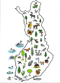 symbol map of Finland Finland Flag, Lapland Finland, Finnish Language, Geography For Kids, Postcard Book, World Thinking Day, Early Childhood Education, Nature Crafts, Pre School