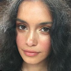 Natural makeup with blush and pink lip
