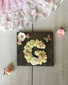Items similar to nursery letter girl, wood wall letter baby girl, floral nursery wall decor, custom wall decor girl, baby shower girl gift flower wall letter on Etsy Nursery Letters Girl, Nursery Wall Decor, Chic Nursery, Rustic Nursery, Woodland Nursery, Nursery Ideas, Godchild Gift, Goddaughter Gifts, Christening Gifts For Girls
