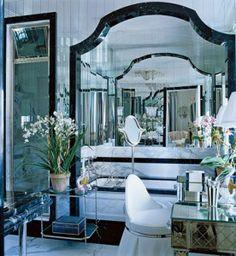 Black and gray marble luxury mirrored bathroom