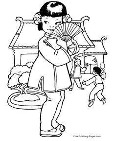 Printable princess coloring pages, coloring sheets and pictures for kids, children. Princess Coloring Pages, Coloring Pages For Girls, Coloring Book Pages, Printable Coloring Sheets, Pattern Coloring Pages, Oriental, Thinking Day, Digi Stamps, Geisha
