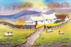 Original Watercolour Hillside Cottage by Pamelajonesartstudio