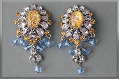 Signed Schreiner NEW York Topaz Cats EYE Lavender Blue Dangle Earrings | eBay