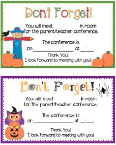 Parent Teacher Conference Reminder Forms FREEBIE Bits of First Grade