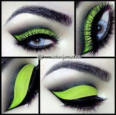 Neon green cut crease look amazing