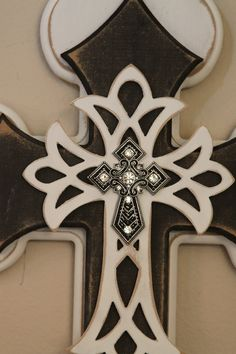 Vintage White and Black Cross by GypsyBirdLee on Etsy, $45.00