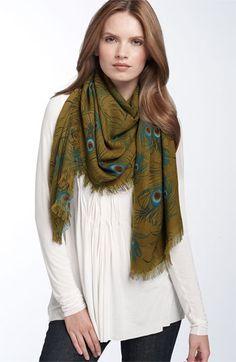 peacock print scarf