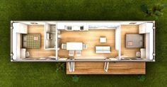2 bedroom 40 foot container home. Nice but I would shift the kitchen and living room right, and put the second bedroom on the left so you don't have to walk dripping wet. across the floor after a shower.