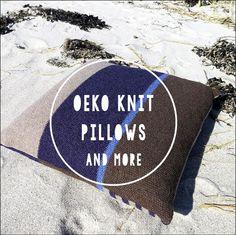 Oeko knit Pillow on a beach