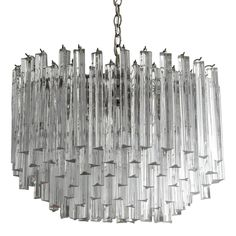 Large Mid-Century Modern Camer Glass Chandelier with Clear Murano Venini Prisms…