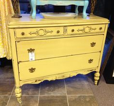 yellow stain | Vintage Yellow Dresser With Gel Stain.