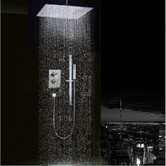 """Free Shipping 2-way shower set 10"""" 304 stainless steel shower head constant temperture valve Bathroom wall mounted SS523 alishoppbrasil"""
