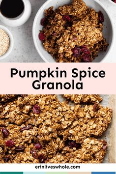 This fall, stock your pantry with Healthy Pumpkin Spice Granola. Made with maple syrup, rolled oats, pecans, and dried cranberries, it combines all of the flavors of the season into a rich, crunchy, gluten-free treat perfect for topping your favorite dishes. Healthy Breakfast Recipes, Healthy Snacks, Vegetarian Recipes, Vegan Vegetarian, Pumpkin Granola, Pumpkin Spice, Pumpkin Pecan Pie, Gluten Free Treats, Vegan Gluten Free