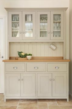 Beautiful kitchen dresser this beautiful glazed dresser is from the devol real shaker kitchen range. Kitchen Dresser, Kitchen Cabinet Knobs, Kitchen Doors, Kitchen Pantry, Kitchen Furniture, New Kitchen, Kitchen Storage, Beige Kitchen Cabinets, Kitchen Ideas