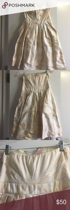 WILLING TO TRADE - Cheaper offsite - Details below Brand New w/Tags - Gorgeous party dress in pretty rose gold and cream color - Size M - Approx length:  26 inches - Willing to accept $40 + shipping cost via Pay P. ---- My entire closet is up for trade/negotiation. If you would like to exchange any item(s) with me, please feel free to send me a message. Thank you in advance 😘 Minuet Dresses Strapless