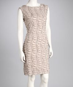 Take a look at this Champagne Scallop Scoop-Back Dress by Tribal on #zulily today!