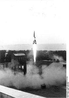 Launching of a V-2 rocket, Peenemünde, Germany, 1940s; Source: German Federal Archive; Identification Code: RH8II Bild-B0791-42 BSM