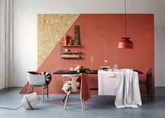 Coral oriented strand board wall