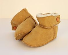 """Baby booties """"First Steps"""" crochet boot-slippers made with sheep skin suede leather and soft fur Leather Texture, Suede Leather, Soft Leather, Baby Booties, Baby Shoes, Crochet Boots, Baby Slippers, Slipper Boots, Handmade Baby"""