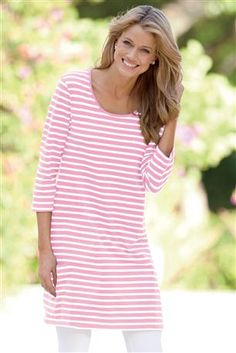 Scoopneck Knit Tunic.  I like the pink. Will also post some other colors.  Pair with skinny jeans and pink or metallic heel sandals.