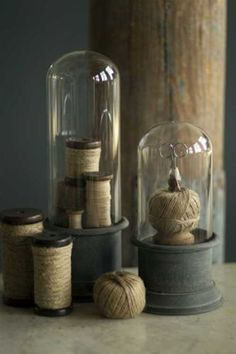 GLASS-CLOCHE-BELL-JAR-DOME-w-Gray-Metal-Base-Set-of-2-French-Country-Garden