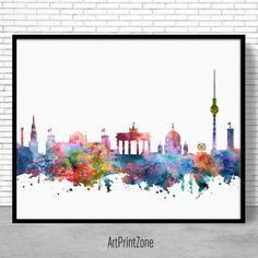 Berlin Skyline, Berlin Print, Berlin Germany, Office Decor, City Wall Art, Watercolor Skyline, Travel Art Posters, ArtPrintZone #BerlinGermany #BerlinSkyline #OfficeDecor #WatercolorSkyline #BerlinPrint
