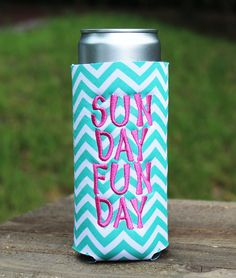 Check out this item in my Etsy shop https://www.etsy.com/listing/398057609/sunday-funday-can-cuddler-free-koozie
