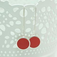 Modern red sterling silver earrings - buy online at Crowded Silver Handmade Sterling Silver, Sterling Silver Earrings, Silver Earrings Online, Clean Design, Polka Dots, Jewelry Design, Make It Yourself, Modern, Red