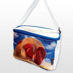 Bolsa térmica Aktive Cooler Medidas: 24 x 15 x 15 cm. Color: blanco ilustración de playa
