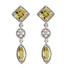 Round & Marquise Lemon Quartz & Diamond Drop Earrings 14K White Gold-Allurez.com