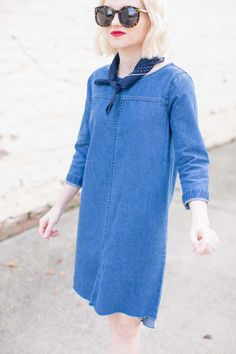 Madewell Dark Wash Denim Shift Dress - Poor Little It Girl