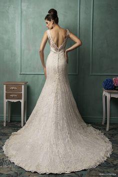 Amelia Sposa bridal 2014 bianca sleeveless wedding dress back train #Wedding