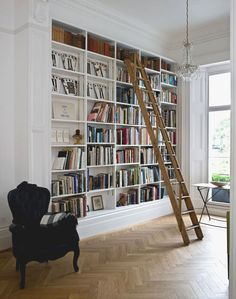 I have always wanted a library in my home with a rolling ladder. This is awesome!