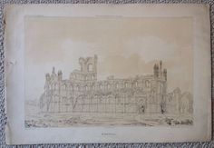Antique Lithograph - Kirkstall Abbey, View From The North West - H. Fielding
