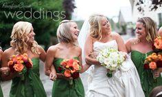 Beautiful green bridesmaid dresses. Photo by Tiffany Burke.
