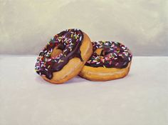 Donuts Painting Sprinkles Chocolate Covered pair by maryannenguyen, $175.00