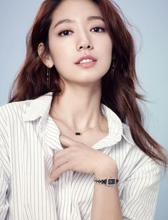 Photos of actress Park Shin-hye were revealed by the jewelry brand Agatha Paris on Monday.In the released photos, Park flaunts a posh look with a striped shirt, a black skirt and accessories. Park Shin Hye, Korean Actresses, Korean Actors, Kdrama, Gwangju, Korean Entertainment, Beautiful Asian Women, Beautiful Ladies, Korean Model