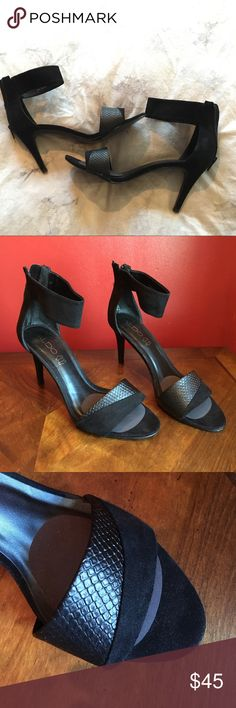 Strappy suede stiletto heels Only worn once. Sexy suede stilettos heels with wide ankle strap. Leather snakeskin design on toe strap. Comfortable with removable cushion pad added to protect the balls of your feet. Size label says 8.5 American but 39 European and 6 UK. Fits 9.0 American. Aldo Shoes Heels