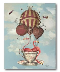 Another great find on #zulily! Flamingos in Teacup Gallery-Wrapped Canvas #zulilyfinds