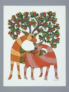 Buy Multi Color Paper Deer Gond Art Painting 14in x 11in Online at Jaypore.com