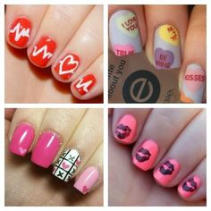 Valentine's Day Nail Art OR CHD awareness nails