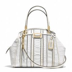 Madison Domed Satchel In Exotic Stripe Leather from Coach. Shop at http://www.cymplifi.com.