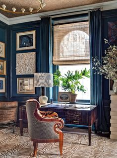 Window Treatments For Difficult Windows + What You Must Never Do | Jamie Drake's masterpiece for the Kip's show house. Gorgeous draperies and that color!
