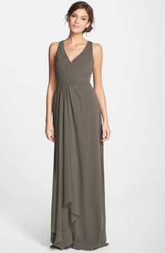Monique Lhuillier Bridesmaids Sleeveless V-Neck Chiffon Gown (Nordstrom Exclusive) available at #Nordstrom